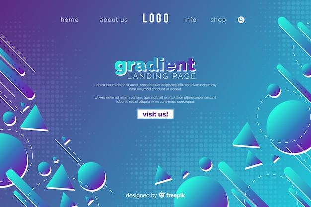 Gradient landing landing page with flat design shapes