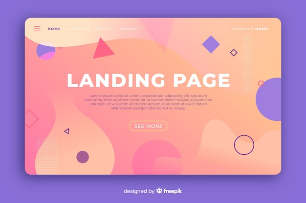 Gradient landing landing page with geometric and liquid shapes