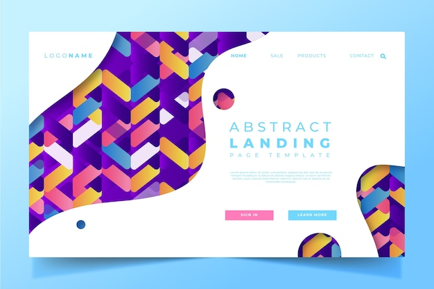Gradient landing page template design