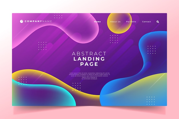 Gradient landing page template style