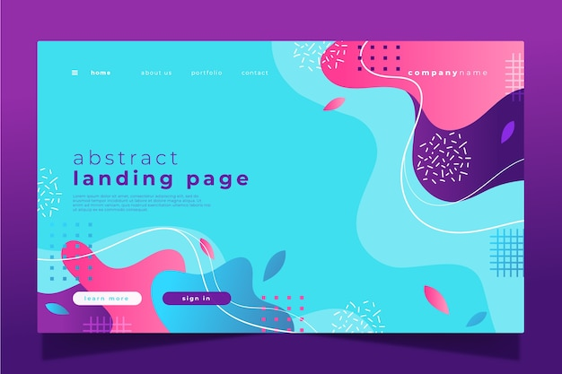 Gradient landing page template theme