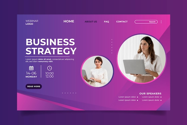 Gradient landing page template with photo