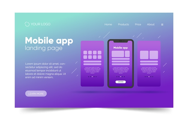 Gradient landing page template with smartphone