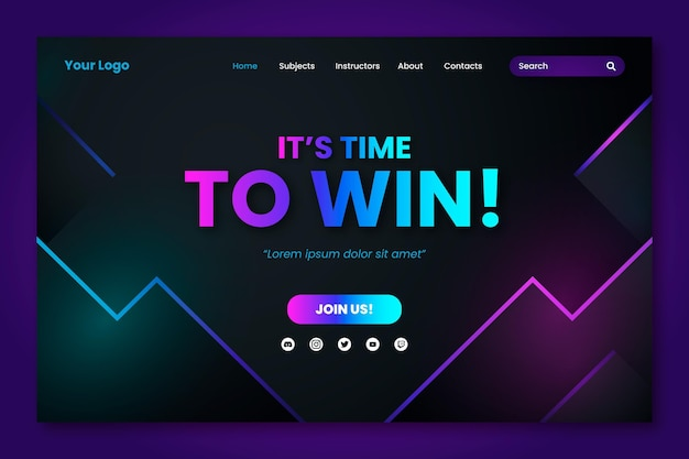 Gradient landing page template