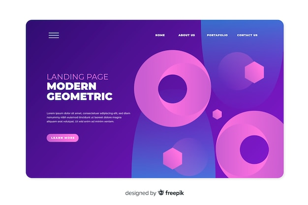 Gradient landing page with big geometric shapes