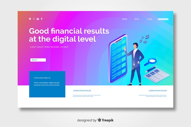 Gradient landing page with character cheking e-mails