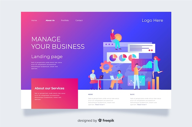 Gradient landing page with characters analyzing charts