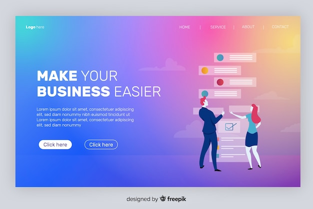 Gradient landing page with characters cheking e-mails
