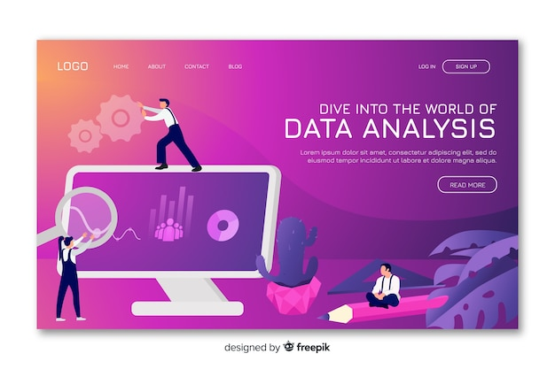 Gradient landing page with data analysis