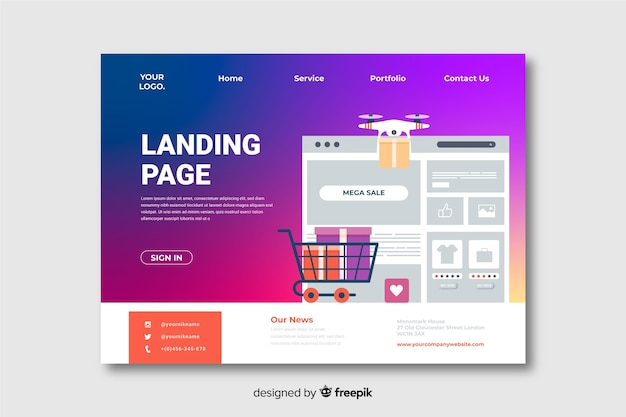 Gradient landing page with different objects