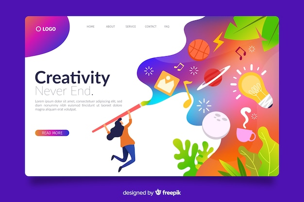 Gradient landing page with drawing person