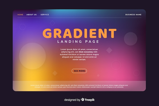 Gradient landing page with fading circles