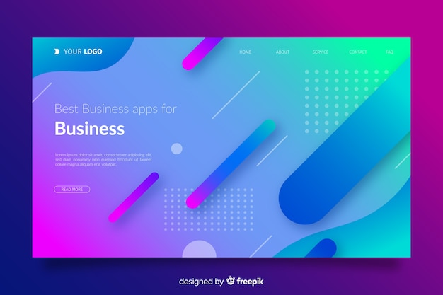 Gradient landing page with flat shapes