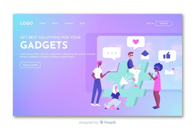 Gradient landing page with gadgets