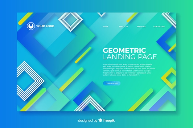 Gradient landing page with geometric elements