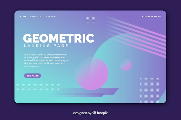 Gradient landing page with geometric shapes