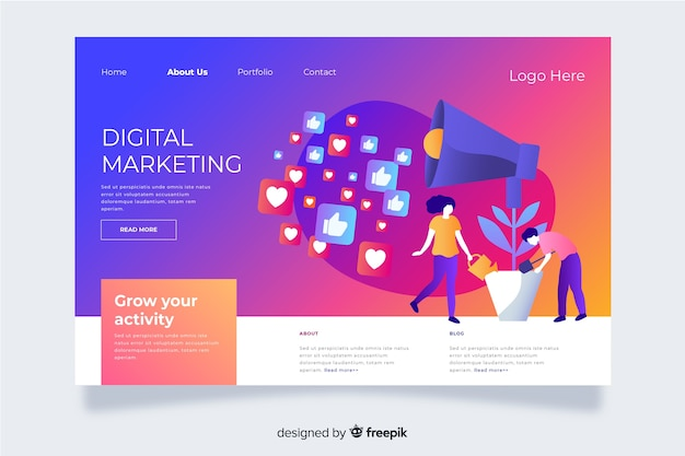 Gradient landing page with icons and symbols