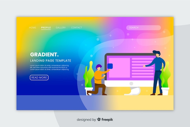 Gradient landing page with illustrations template