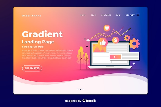 Gradient landing page with laptop and tools