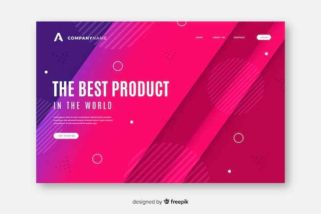 Gradient landing page with memphis