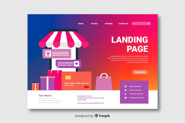 Gradient landing page with shopping bags