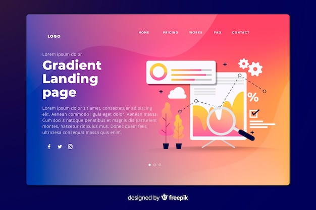 Gradient landing page with tools