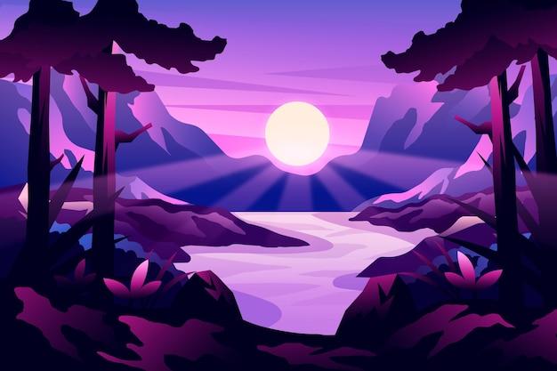 밝은 태양이 있는 그라데이션 풍경