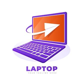 グラデーションノートパソコンのロゴのテンプレート
