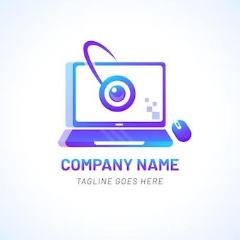 Шаблон логотипа градиента ноутбука