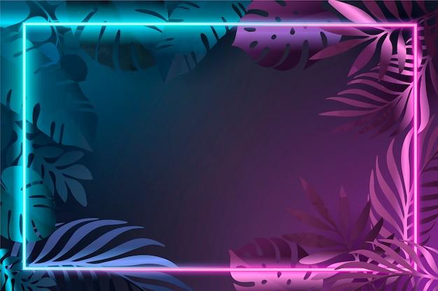 ネオンフレームとグラデーションの葉