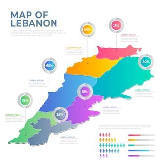 分割されたグラデーション レバノン マップ