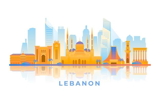그라데이션 레바논 국가 스카이 라인