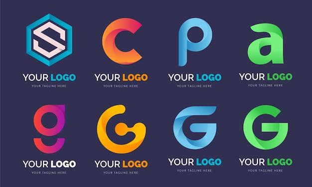 グラデーション文字ロゴセットバンドルコンセプトデザイン