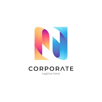 Gradient letter n logo with ribbon shape concept
