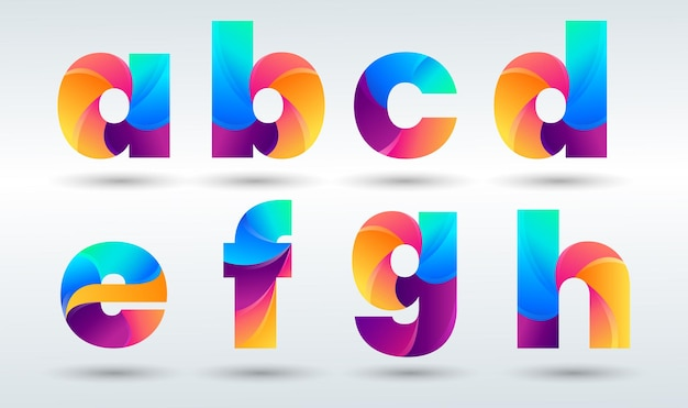 Gradient letters logos collection