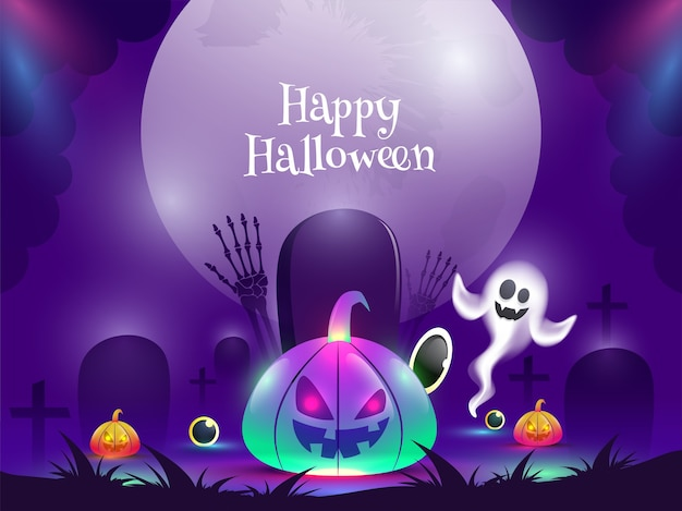 Gradient light effect jack-o-lanterns with cartoon ghost