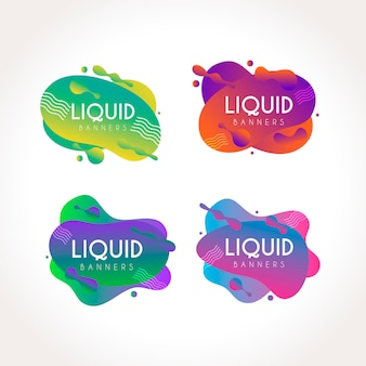 Gradient liquid banners set