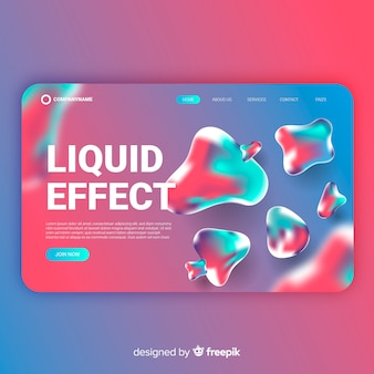Gradient liquid effect landing page