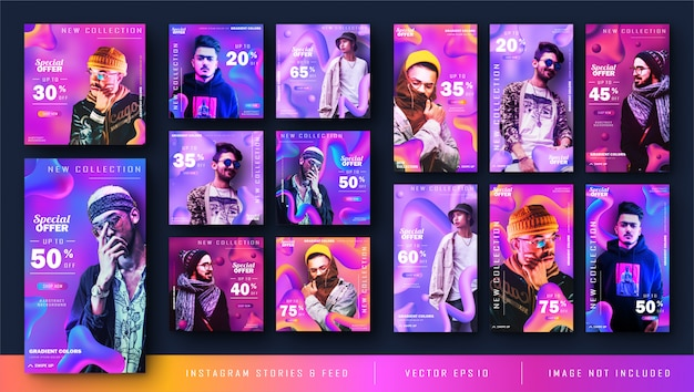 Gradient liquid instagram stories and feed post banner bundle kit