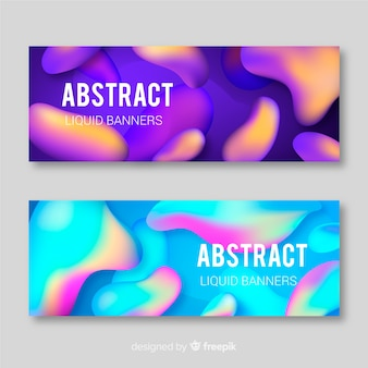 Gradient liquid shape banner set