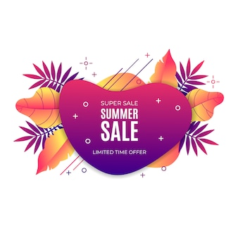 Gradient liquid summer sale banner with tropical elements