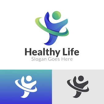 Gradient logo design of people health care and healthy life human