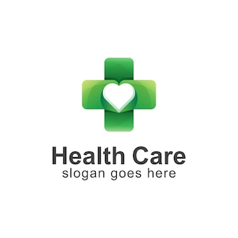 Gradient logo of health care combined cross and heart