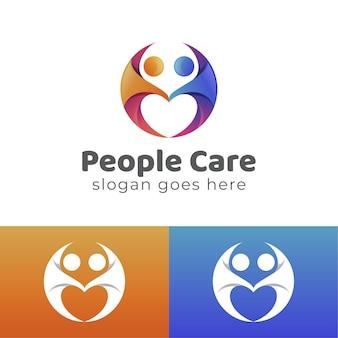 愛のベクトルデザインのシンボルを形成することにより、幸せで思いやりのある人々のグラデーションのロゴ