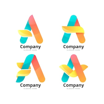 Gradient a logo template collection
