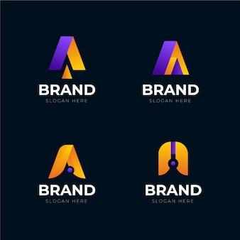 Gradient a logo templates set