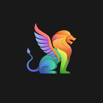 Gradient logo of a winged lion