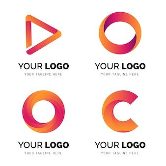 抽象的な形のコンセプトデザインとグラデーションのロゴ