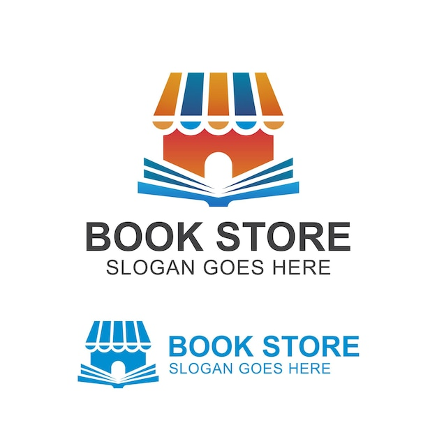Gradient logos of book store or shop, library education store for reading book and place learning