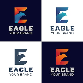 Gradient logos of initial letter e with eagle symbol for delivery express logistics logo design